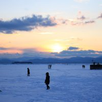 Sunset on a frozen over Lake Champlain in February of 2014