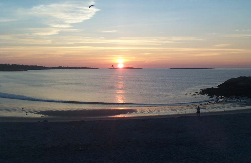 Morning sunrise over the Atlantic Ocean from Gloucester, Massachusetts