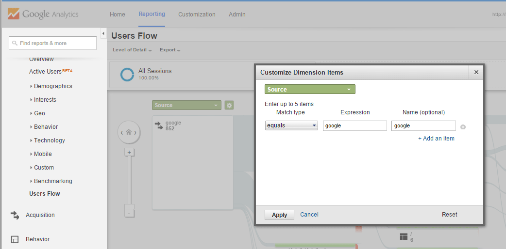 Google Analytics Users Flow Customize Dimensions